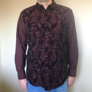 INC Wine Paisley Party Button Up Shirt